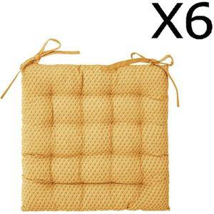 COUSSIN DE CHAISE  Lot de 6 Galettes de chaise ocre à motifs - 38 x 3