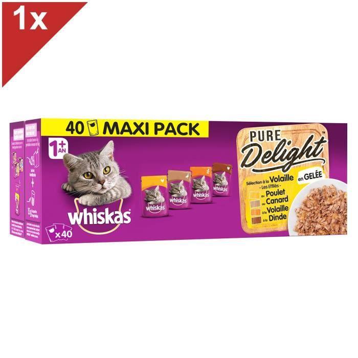 WHISKAS Les Marmitons - Sachets fraîcheur en gelée à la volaille - 4 variétés - Pour chat adulte - 40 x 85 g