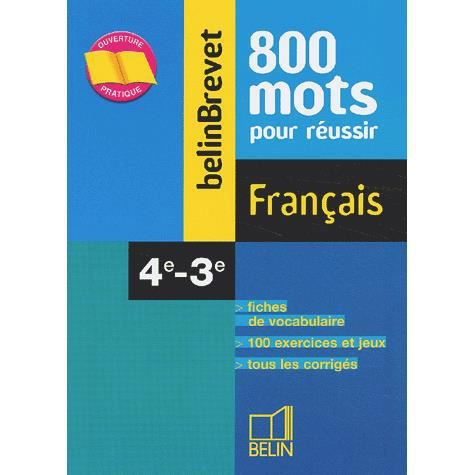 Francais 4eme 3eme Achat Vente Livre Belin Parution 07