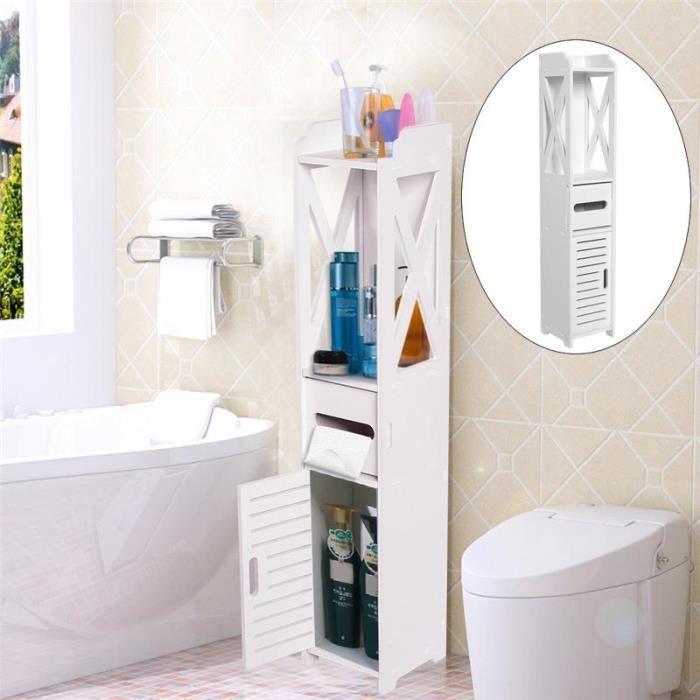 Armoire étagère de Rangement en Bois Pour Salle de Bains Meuble de Toilette Grille de Stockage 80*15.5*15.5CM - Blanc