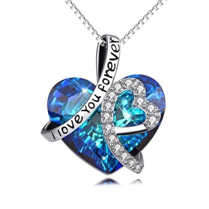 Collier Pendentif Coeur Love Cristal Swarovski* Bleu Argent Fin 925