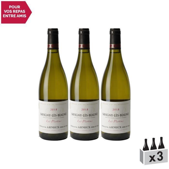 Savigny-lès-Beaune Les Picotins Blanc 2018 - Lot de 3x75cl - Domaine Arnoux Père et Fils - Vin AOC Blanc de Bourgogne - Cépage