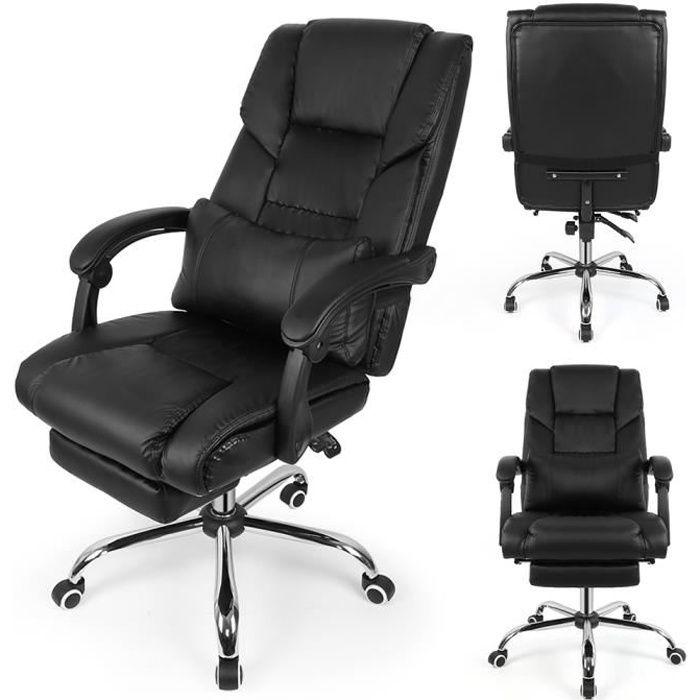 Fauteuil de bureau manager grand confort avec repose-pieds noir
