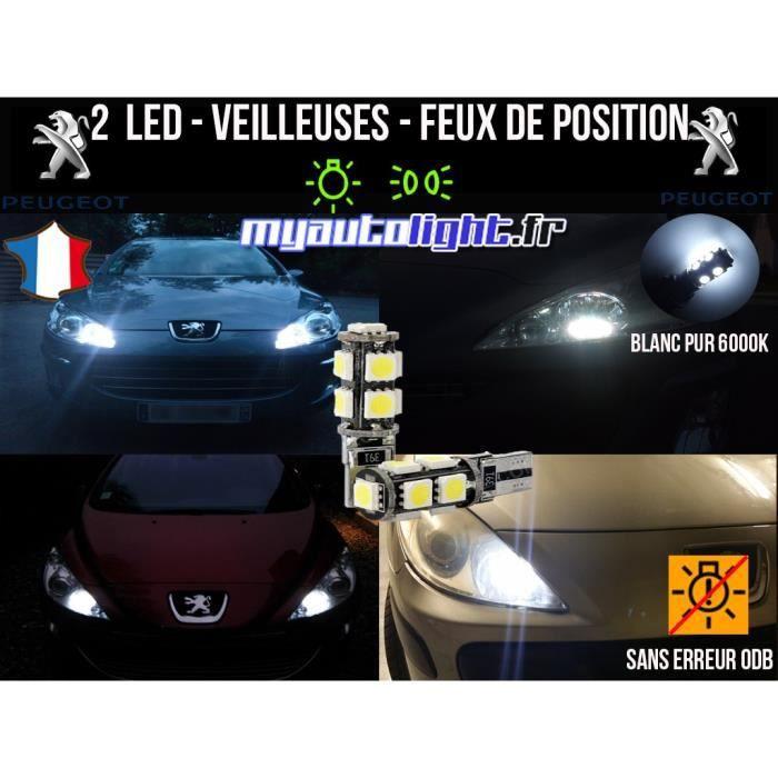 Ampoules Feux de position LED - Peugeot 807- W5W blanc Xénon