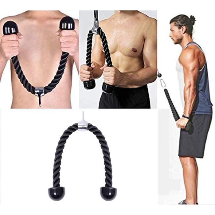 Triceps Corde de Traction Sports Corde Musculation Trapezes Biceps Accessoire de Tirage pour Appareil à Poulie 27 Pouces