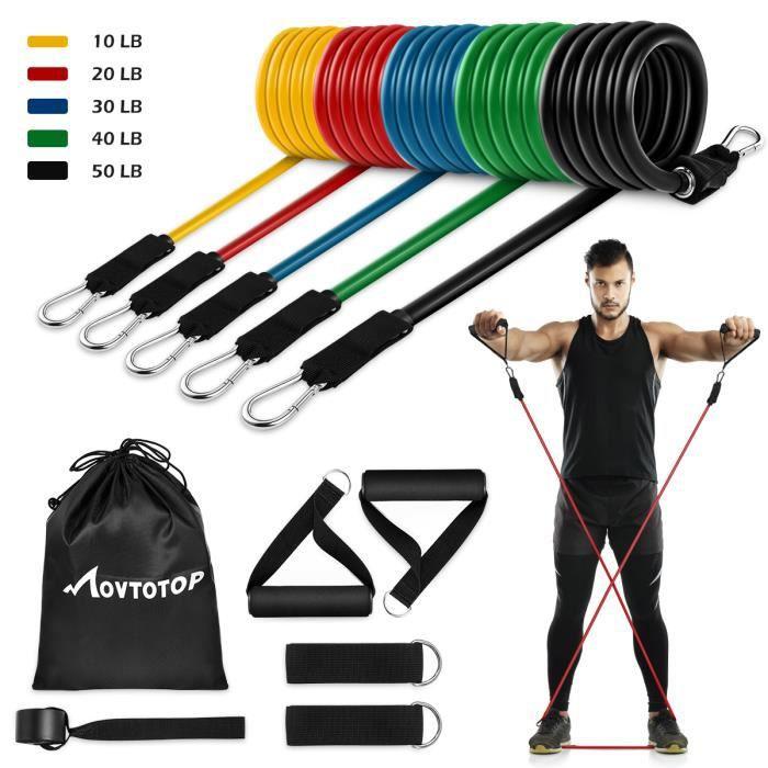 MOVTOTOP 11 pièces ensemble de bande musculaire exercice Fitness ceinture porte ancre cheville ceinture poignée sac de rangement