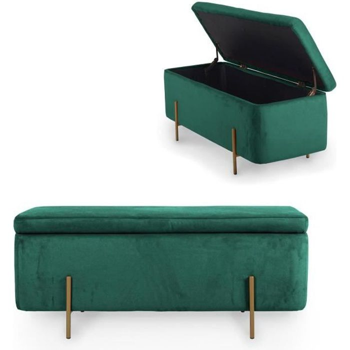 HAYDEN II - Banquette coffre de rangement en velours vert et pieds dorés