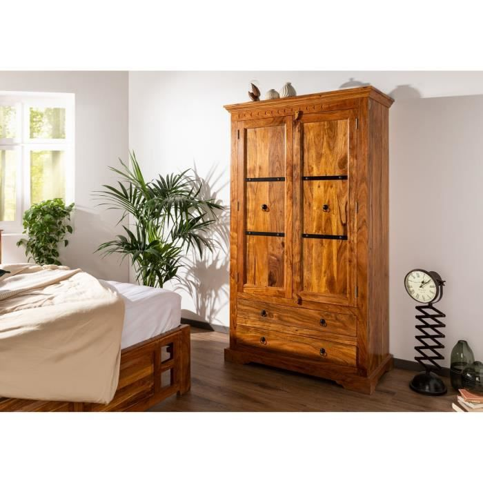 Armoire - Bois massif d'acacia laqué (Miel) - Style colonial - OXFORD #0419