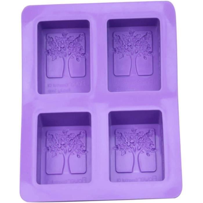 4 Carré Creux Rectangle DIY Moule à Savon Moulessilicone Gateaux Jelly Ice Gâteau Chocolat Moules en Silicone