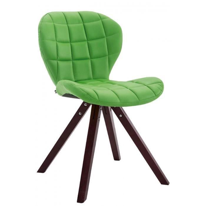 Superbe Chaise visiteur ligne Saint-Georges cuir synthetique carre cappuccino (chene) couleur vert
