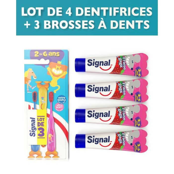 SIGNAL Pack 3 Brosses à dents enfants + 4 dentifrices Fraise gaga