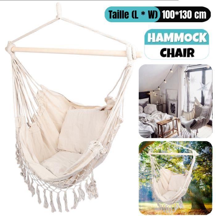 Fauteuil Hamac suspendu design 1 Place Extérieur intérieur avec oreiller confortable en Coton Blanc HB042