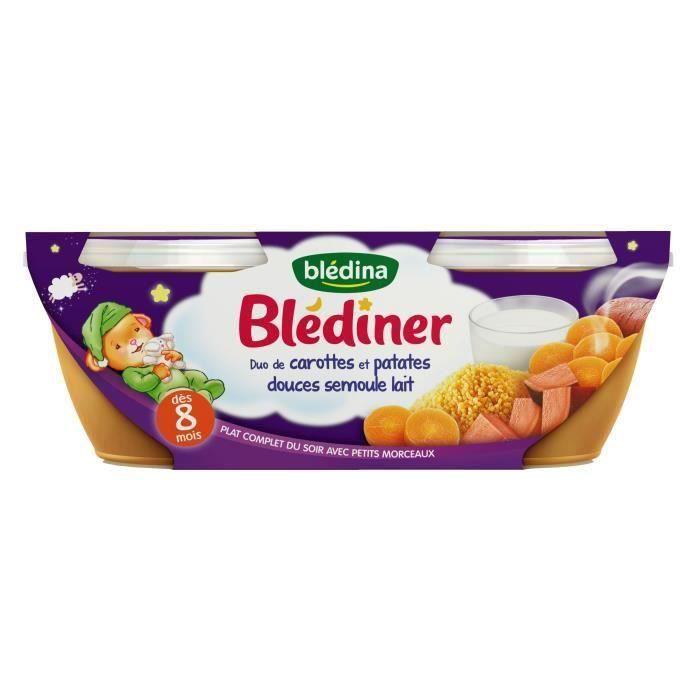 BLEDINA Blédîner Duo de carottes et patates douces semoule lait 2x200 g - Dès 8 mois (Lot de 3)