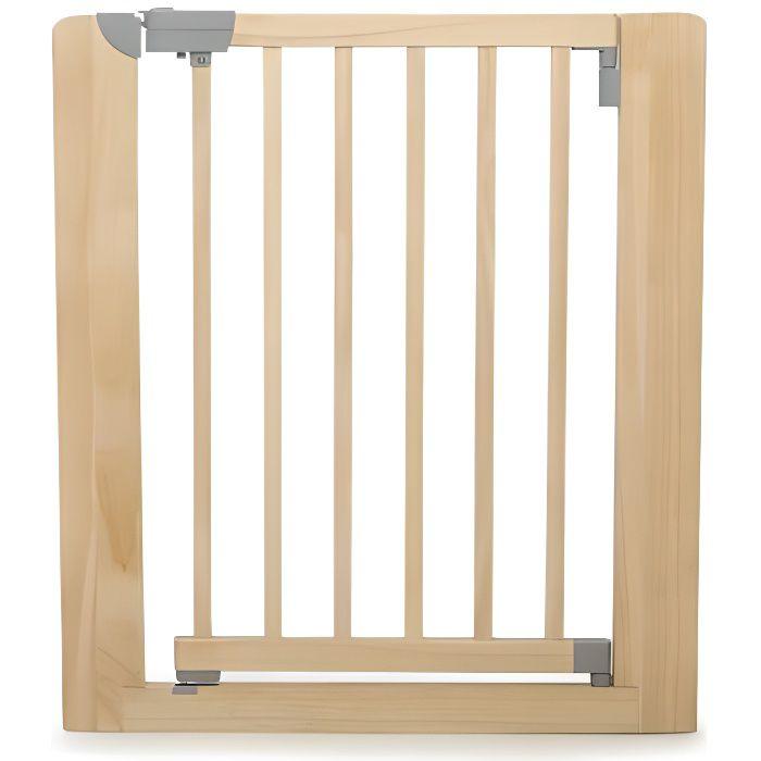 GEUTHER Barrière de sécurité easy close en hêtre massif pour porte et escalier - Réglable : 73,5 à 81 cm