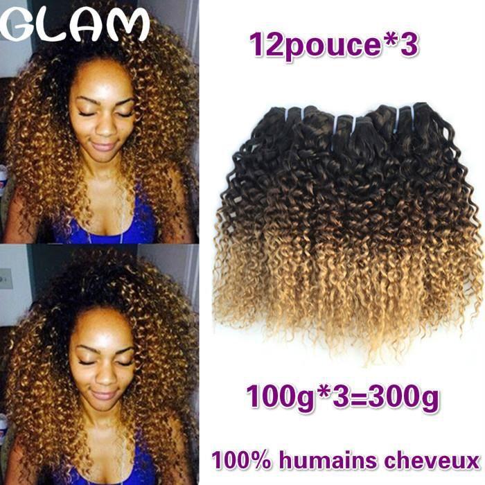 3tissage 12pouce Ombre Kinky Curly Cheveux Humains 100g-p Brésiliens Cheveux Weave Bundles 1B-4-27