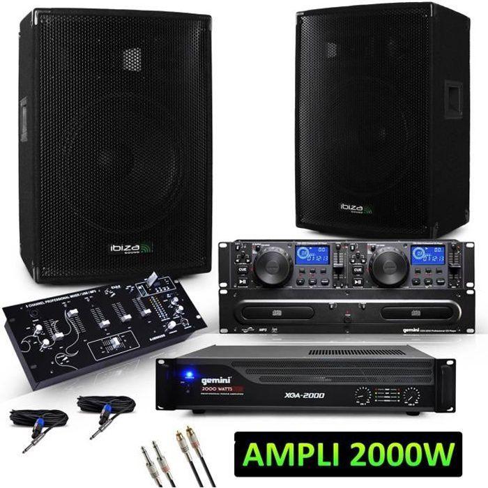 2 enceintes 2x600W+Ampli 2000W+Table de mixage avec lecteur MP3-USB-BT+Double Lecteur CD…