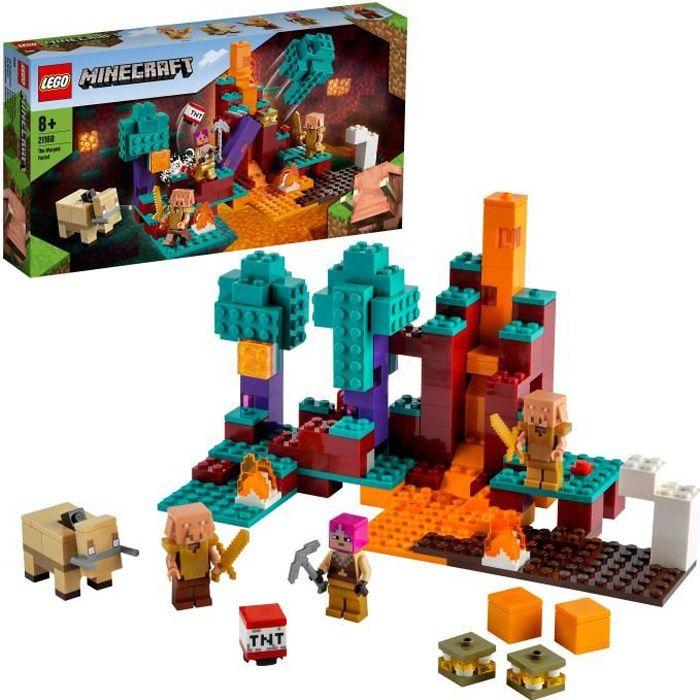 LEGO® 21168 Minecraft™ La Forêt Biscornue Jeu du Nether et de Construction, le Chasseur, Piglin et Hoglin pour Enfant de 8 Ans et +