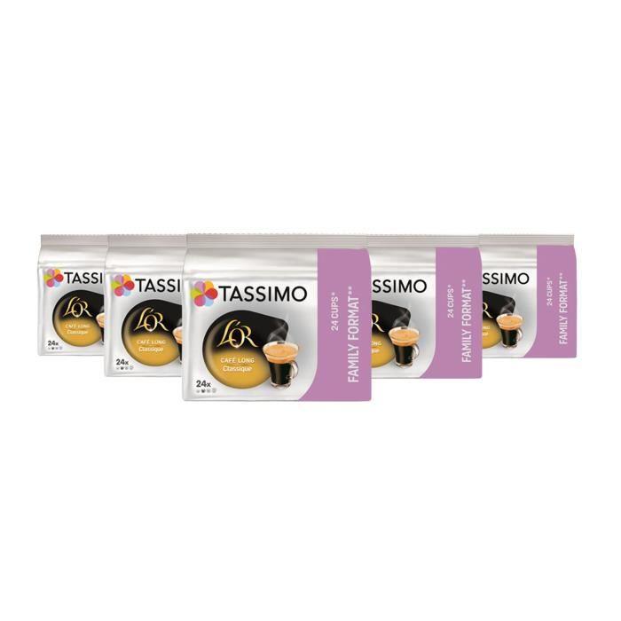 TASSIMO L'OR café Long Classique, dosettes à café souples, T-Discs Capsules, 5 paquets de 24 (120 Boissons)