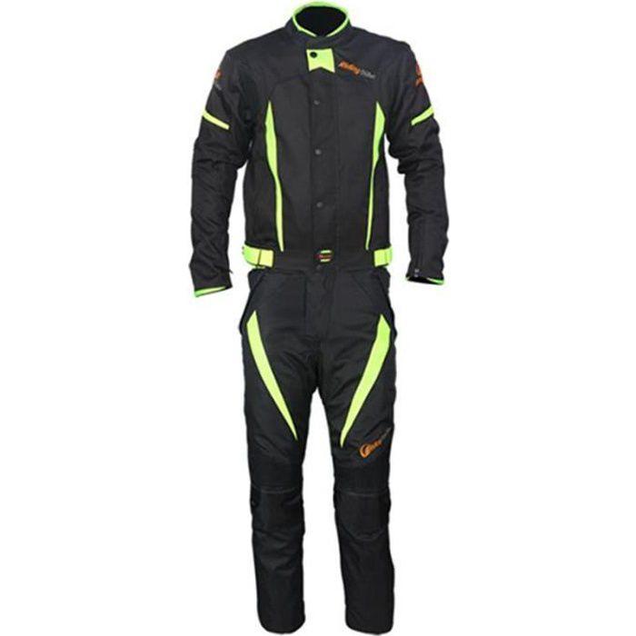 Combinaison (Veste+Pantalon) de moto d'hiver unisexe anti-chute imperméable de cyclisme course racing