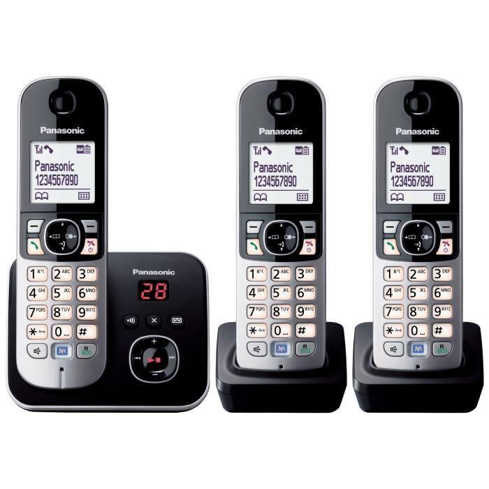 PANASONIC Téléphone résidentiel dect - TG6823 - Trio avec répondeur - Argent et noir