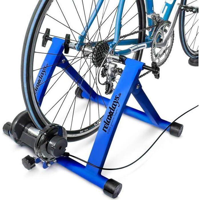Relaxdays Home trainer vélo pliable 6 niveaux de résistance entraînement 26-28 pouces 120 kg max, vert - 4052025038168