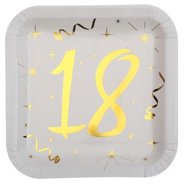 Décoration anniversaire 18 ans blanc et or en assiette carrée (x10) R/6156 Matière carton.