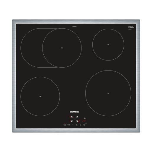 Siemens EH645BFB1E, Intégré, Plaque avec zone à induction, Verre-céramique, Noir, Acier inoxydable, 2200 W, 14,5 cm