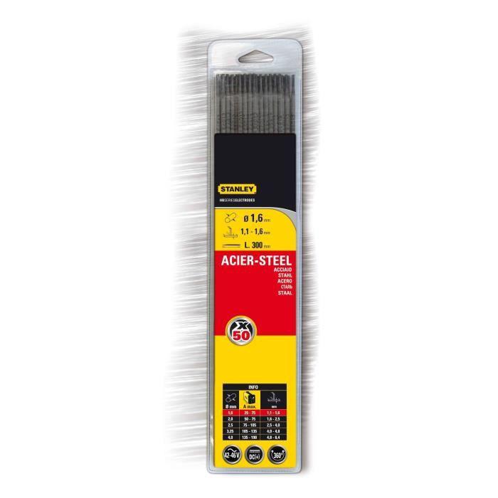 STANLEY 460816 Lot de 50 électrodes rutiles acier - Ø 1,6 mm - L 300 mm - Baguettes de soudure