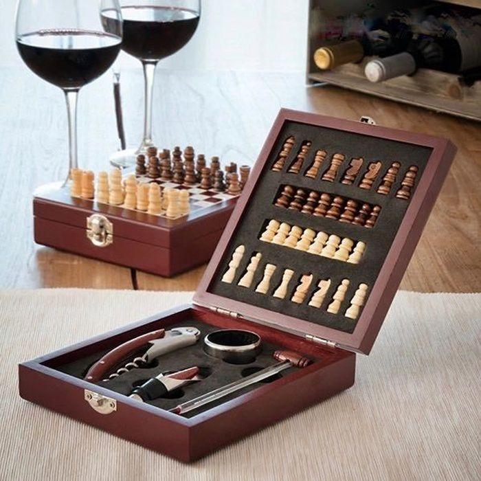 MODEZVOUS - Coffret Cadeau d'Accessoires à Vin et Echiquier - 37 pièces - Bois