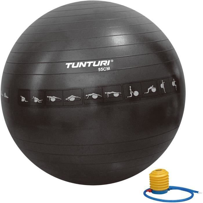 TUNTURI Gym ball ballon de gym 55cm anti éclatement noir