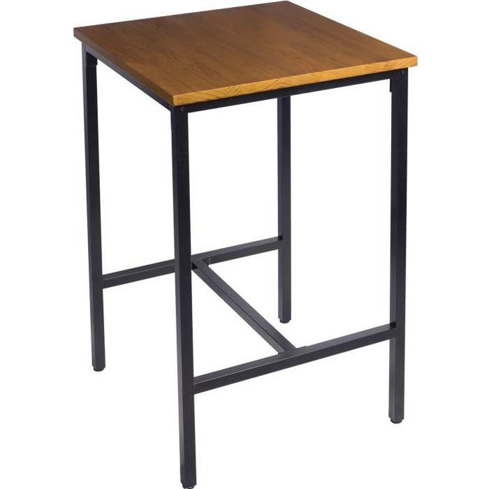 WOLTU 1 X Table de bar, Table de bistrot,Table à manger, Structure en métal,Plateau en bois massif, 66x66x110cm