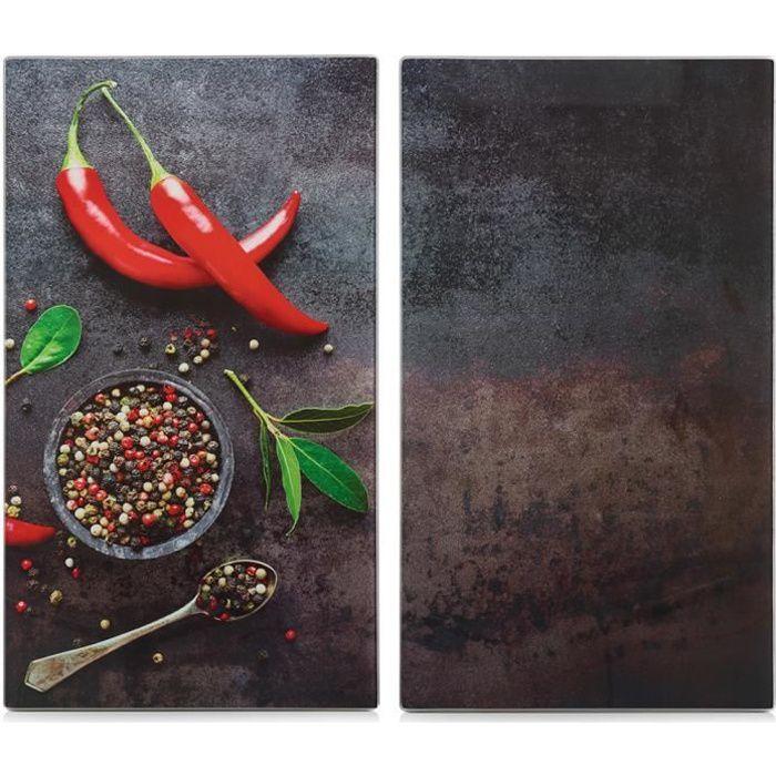 Planche à découper en verre, produit design avec impression paprika, outil de cuisine durable et pratique.