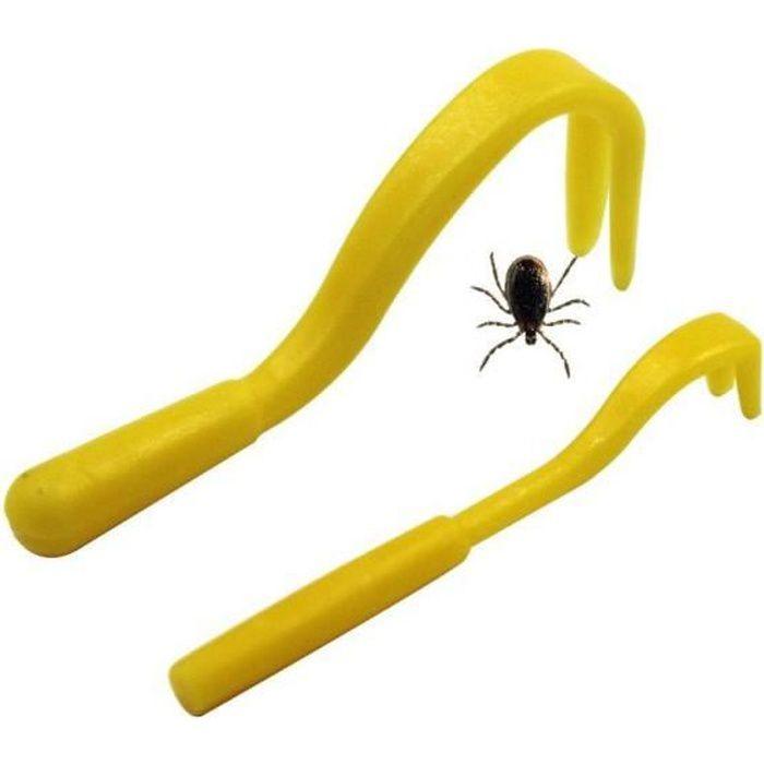 Kit de 2 pcs Crochets à Tique Puce Tick Twister Remover pour Homme Animaux Chien Chat Cheval Couleur Jaune