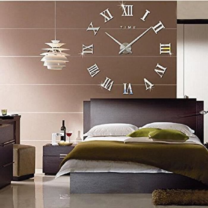 3d diy pendule murale moderne m tallique horloge de salon. Black Bedroom Furniture Sets. Home Design Ideas