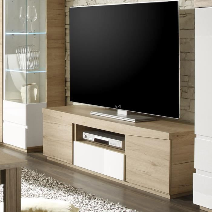 meuble tv couleur ch ne clair et laqu blanc moderne nesbo l 140 cm achat vente meuble tv. Black Bedroom Furniture Sets. Home Design Ideas