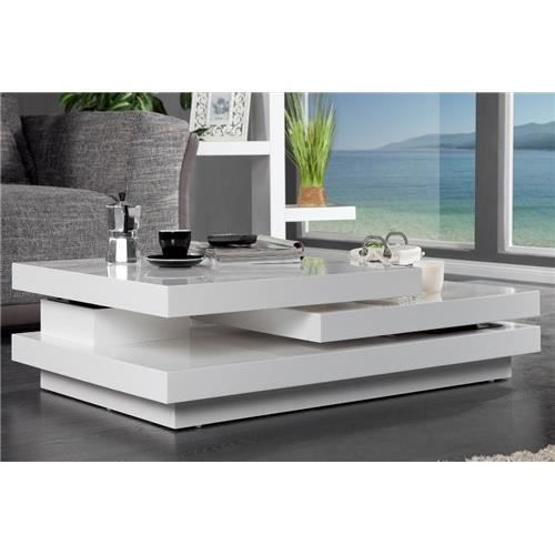 Table basse design levelo blanc achat vente table for Table basse blanche design
