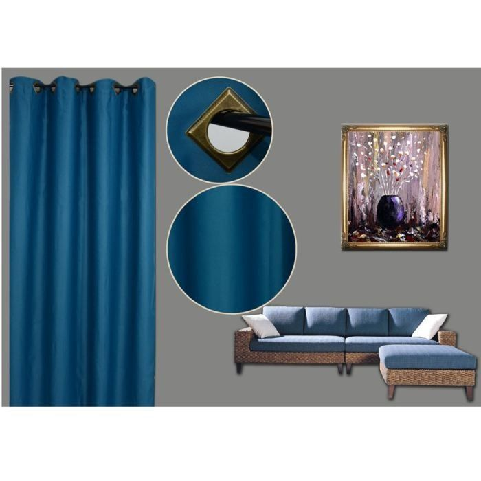 rideau occultant bleu 140x260cm achat vente rideau cdiscount. Black Bedroom Furniture Sets. Home Design Ideas