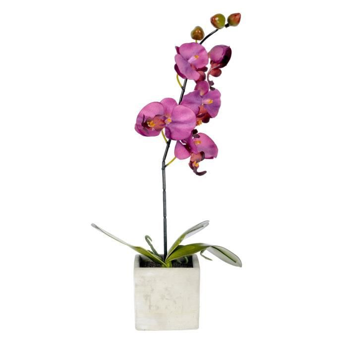 Orchid e artificielle pot en pierre violet achat for Www homee