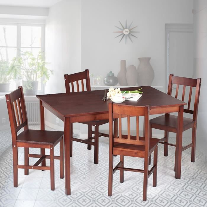 Table 4 chaises en pin achat vente table 4 chaises en for Table 4 en 1