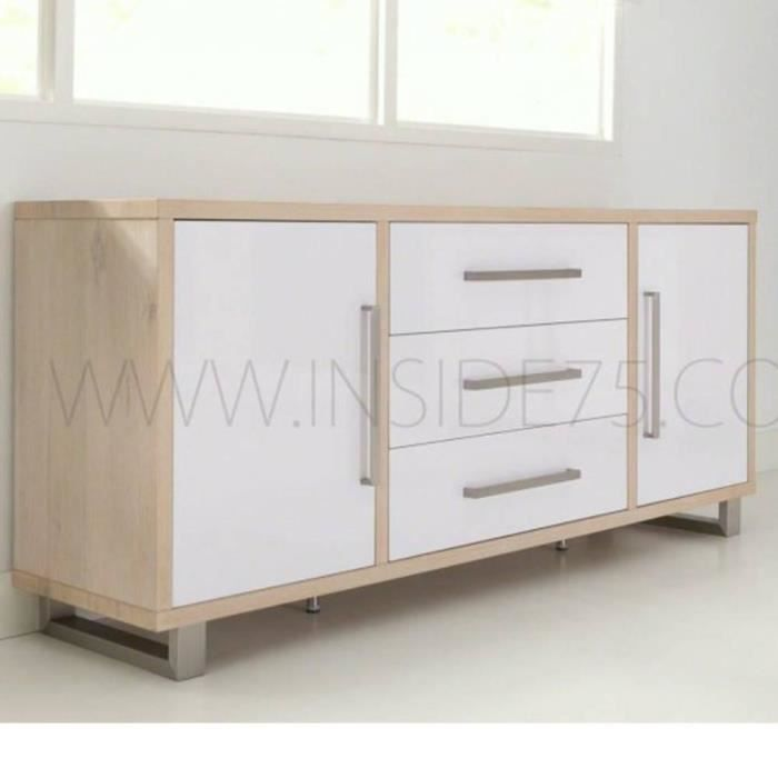 flora buffet en bois laqu blanc brillant avec achat. Black Bedroom Furniture Sets. Home Design Ideas