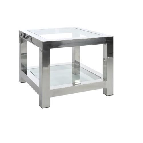 table gigogne acier inoxydable verre argent 60x60x50cm. Black Bedroom Furniture Sets. Home Design Ideas