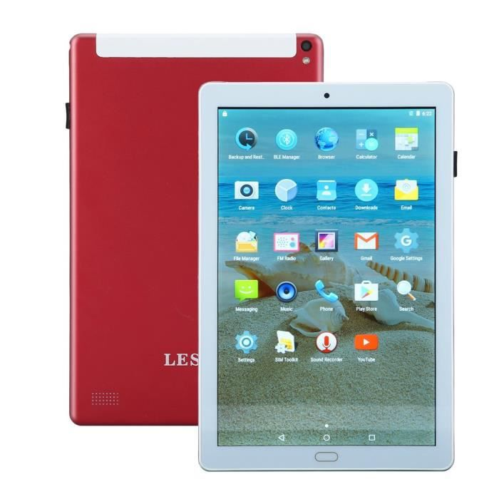 TABLETTE TACTILE TABLETTE LESHP 10,1 pouces double carte SIM Androi