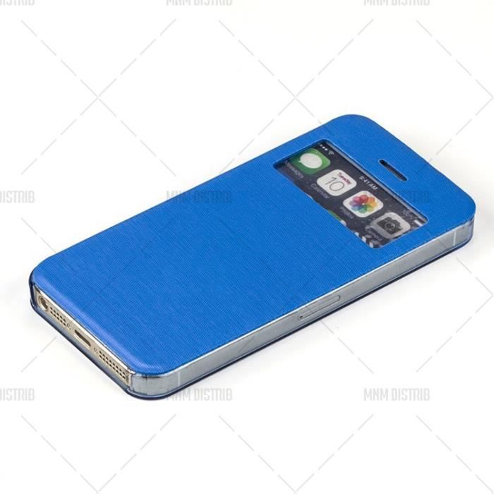 Etui coque housse flip cover view iphone 5 et 5s bleu mnm for Etui housse iphone 5