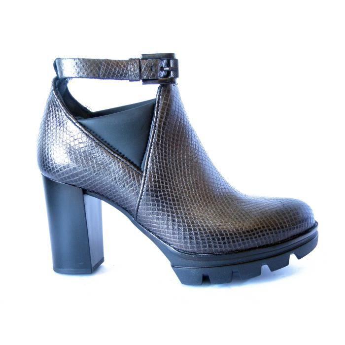 en chevilletalon MJUS à bride la avec chaussures imprimé anti 8cmplateaula semelle caoutchouc 585201 cuir dérapant kPXZui