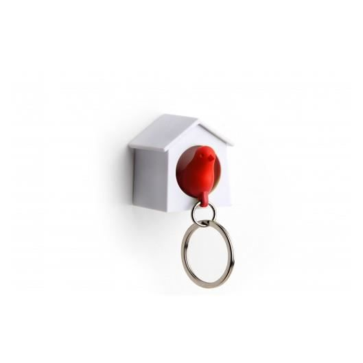Mini accroche cl sparrow oiseau rouge qualy achat for Miroir qui s accroche a la porte