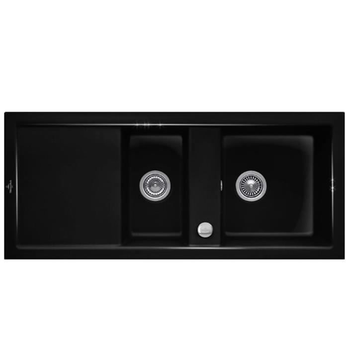 Evier c ramique noir brillant villeroy boch subway 2 for Evier ceramique noir