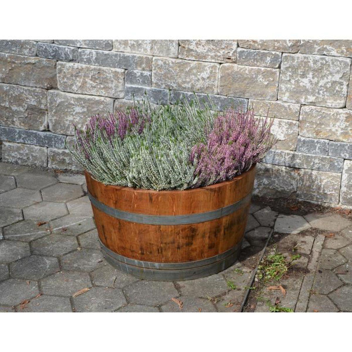 Demi Tonneau En Bois temesso demi tonneau de vin en bois de chêne - pot de fleurs ou mini étang  - huilé