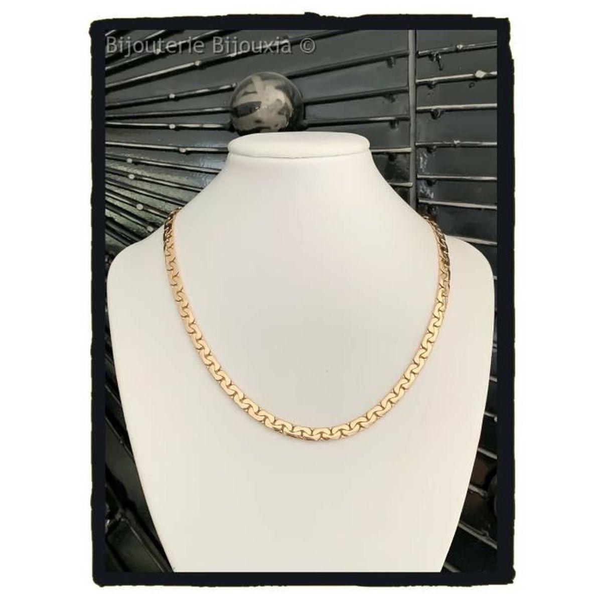 Collier Maille Haricot En Plaqué Or 18 carats 750//1000 NEUF Bijoux Femme