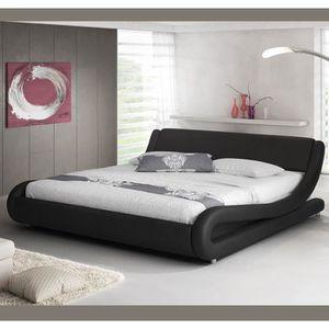 STRUCTURE DE LIT Lit design Alessia – noir (180x200cm)
