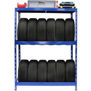 ECD Germany Support de pneu 795 kg 8 pneus 180 x 120 x 40 cm /étag/ère sup/érieure MDF Etag/ère de rangement stockage pour pneus en acier galvanis/é r/églable en hauteur